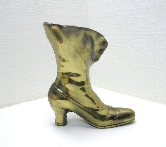 Vintage Brass Lady's Lace Up Boot Victorian  Brass Shoe Planter  Vase