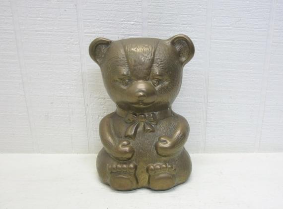 Vintage Brass Teddy Bear Figurine