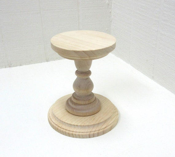Wooden Pillar Candle Holder / Candlestick  5-1/2 Inches Tall