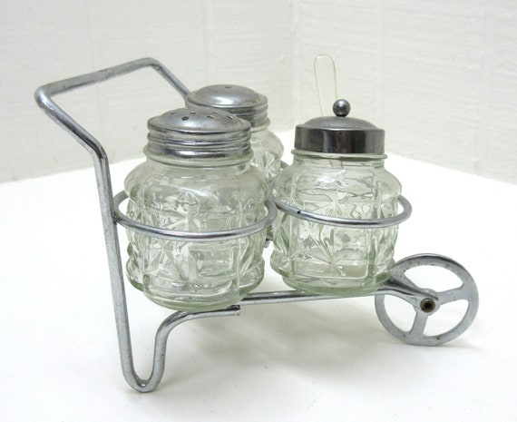 Vintage Collectable Salt And Pepper Shaker With Condiment Jar And Metal Wheeled Cart