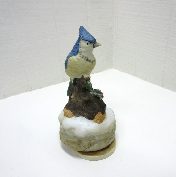 Vintage Interpur Music Box Bisque Blue Jay With Holly Red Berries