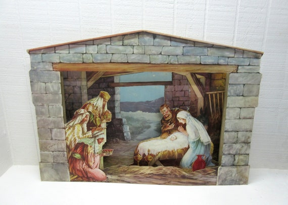 Vintage Cardboard Fold Out Nativity Scene