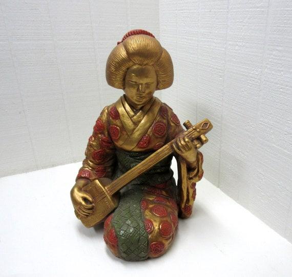 Vintage Large Golden Geisha Playing Shamisen Chalkware Statue Progressive Art Products 1966