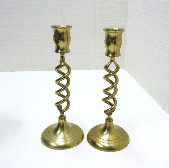 Vintage Brass Pair Open Barley Twist Candle Sticks