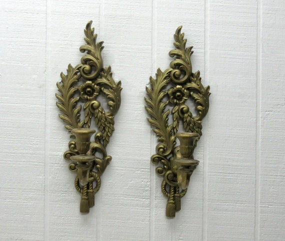 Vintage Burwood Homco Home Interior Gold Tone Ornate Candle Holder Wall Sconces Set #4055