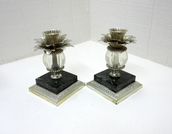 Vintage Dilly MFG. Candlestick Holders Set Of 2 Pineapple Design Marble Metal Glass