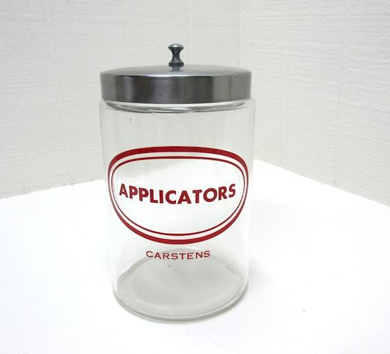 Vintage Doctor's Carstens Glass Applicators Jar Canister