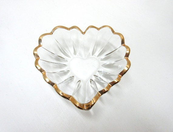 Vintage Glass And Gold Heart Dish
