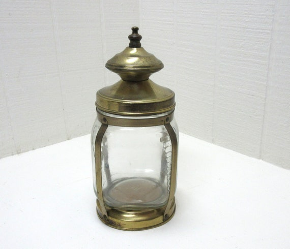 Vintage Hazel Atlas Lantern Style Brass And Glass Cigar Humidor Apothecary Jar Or Tobacco Canister