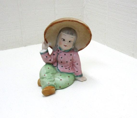 Vintage Ucagco Sitting Asian Girl Vase Occupied Japan 1950's Figurine