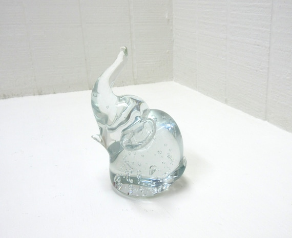 Vintage Clear Glass Elephant Paperweight Figurine Air Bubbles Trunk Up