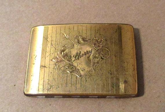 Antique Compact Art Deco Gold Finish