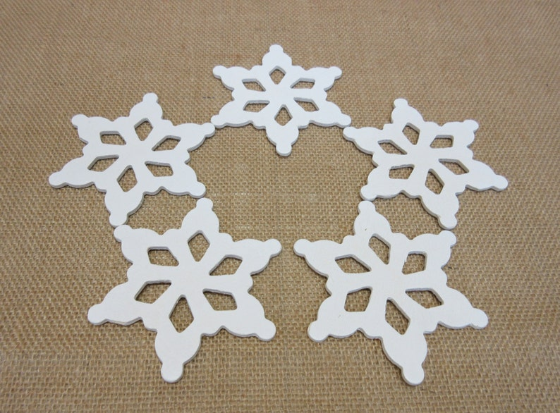 Wooden Snowflakes Large Painted White Lot Of Five