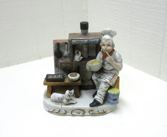 Vintage French Baker Baking Bread In Oven Sous Chef Ceramic Figurine