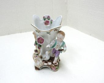 Vintage Camille Naudot Vase Boy Feeding A Duck