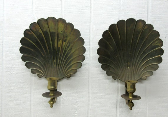 Vintage Brass Clamshell Seashell Candle Holder Wall Sconce Lot Of 2