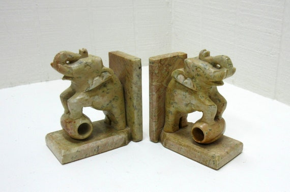 Vintage Elephant Bookends Made In India