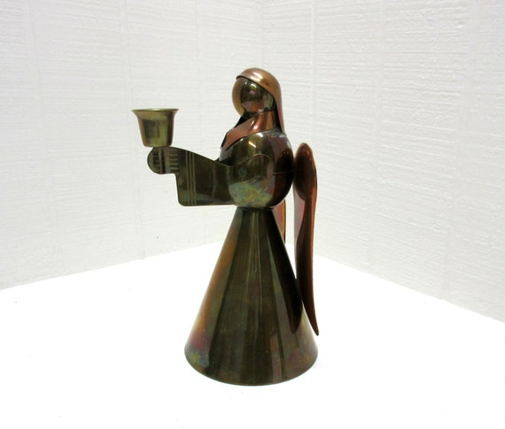 Vintage Candle Holder Angel Copper and Brass