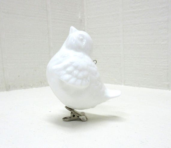 Vintage Ceramic White Bird Ornament Christmas Tree Clip-on Or Hang