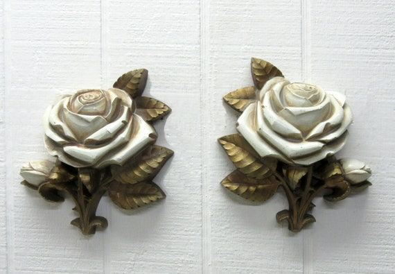 Vintage HOMCO Flower Plaques 2 Dart Rose Wall Art Gold Tone & Cream