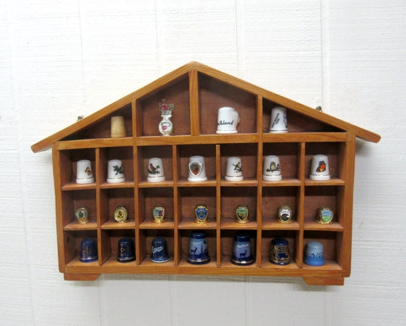 Vintage Wooden Thimble Display Shelf Trinket Shelf With 25 Thimbles Instant Thimble Collection