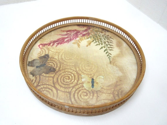 Vintage 1970'S Bamboo & Glass Round Butterfly Tray With Set of Six Butterfly Coasters