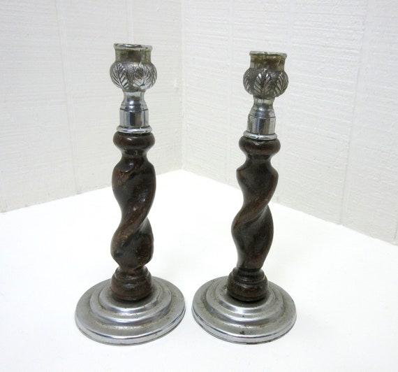 Vintage Barley Twist Wood And Metal Candlestick Taper Candle Holders