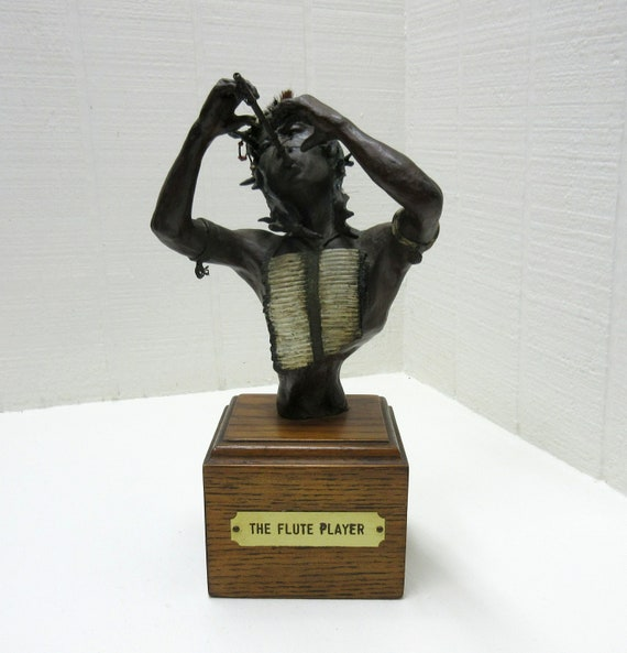 Vintage Lisa Perry Brass Figurine The Flue Player American Indian Bronze