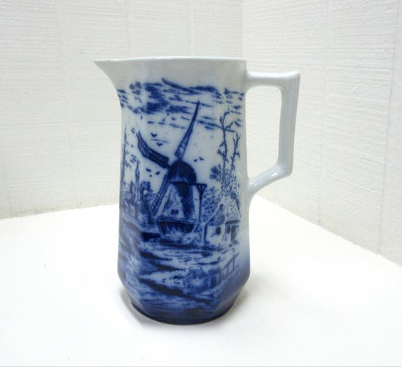 Vintage Flow Blue Pitcher Hand Painted Scenery With Windmill Sail Boats And Cottage