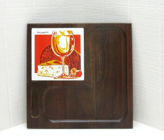 Vintage Vermillion Walnut Cheese Cutting Board With Knife Serving Tray Ceramic Tile Bon Appetit