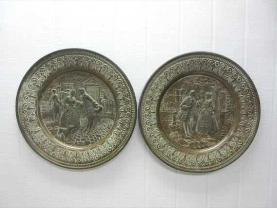 Vintage Repousse Metal Bronze Brass English Wall Plaques Made In England Lot Of 2