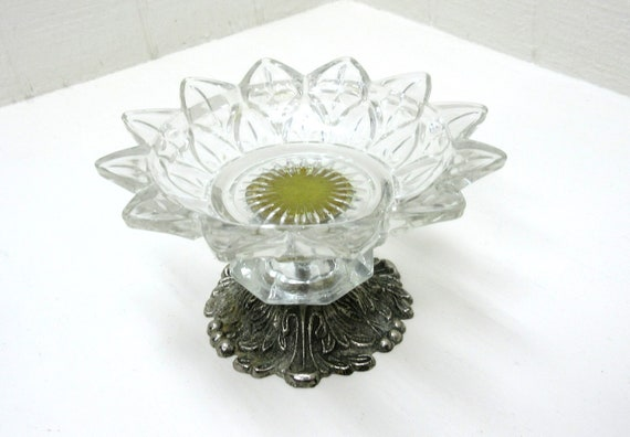 Vintage Clear Glass Compote On Metal Stand
