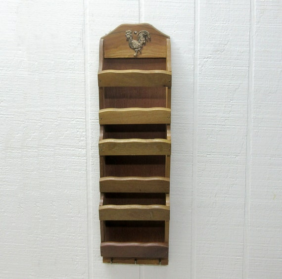 Vintage Wooden Wall Hanging Letter Bill Receipt Organizer Key Holder