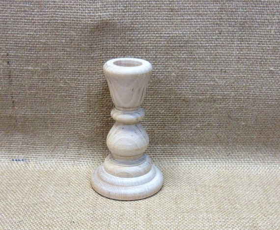 Wood Candle Holder Candlestick 4 Inches Tall