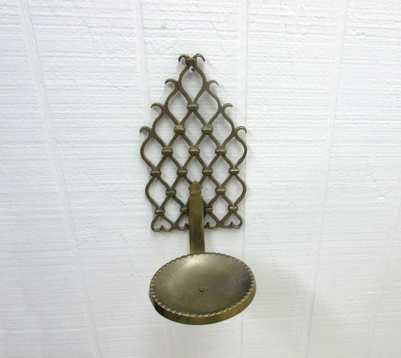 Vintage Brass Pillar Candle Holder Wall Sconce