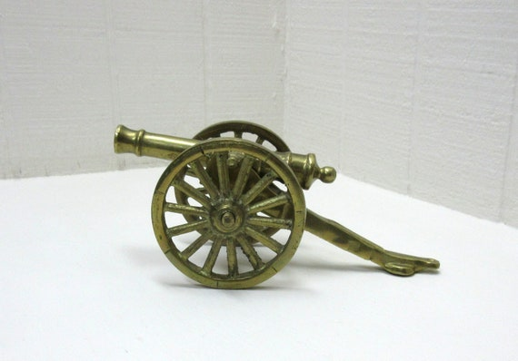 Vintage Brass Cannon With Truck
