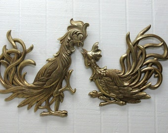Vintage Syroco Wood Fighting Roosters Wall Plaques  E258