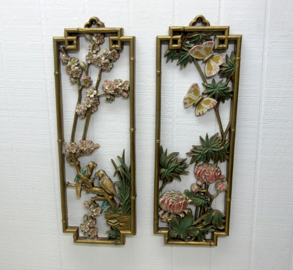 Vintage HOMCO Flowers Bird Butterflies Wall Plaques Home Interior #7365 Made In 1975