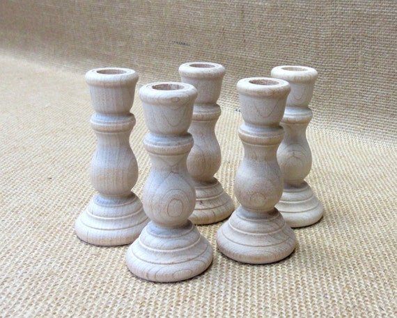 "Wooden Candlesticks  3"" Tall Lot Of 5"