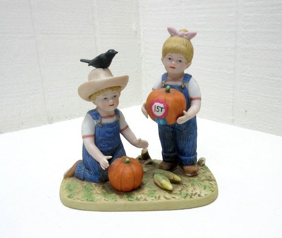 Vintage Homoco / Home Interiors Porcelain Figurine The Prize Pumpkin DENIM DAYS #1531