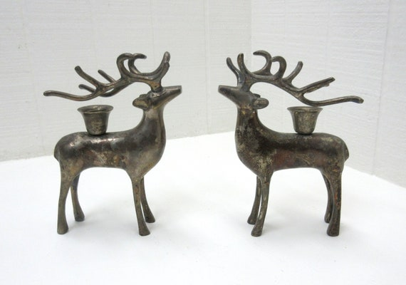 Vintage Silver-Tone Metal Reindeer Candle Holder Lot Of 2