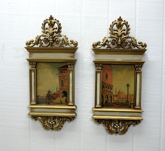 Vintage Syroco Wall Plaques #2606 Venice Lithographs Italian Doge's Palace San Marco By Shirley Tattersfield