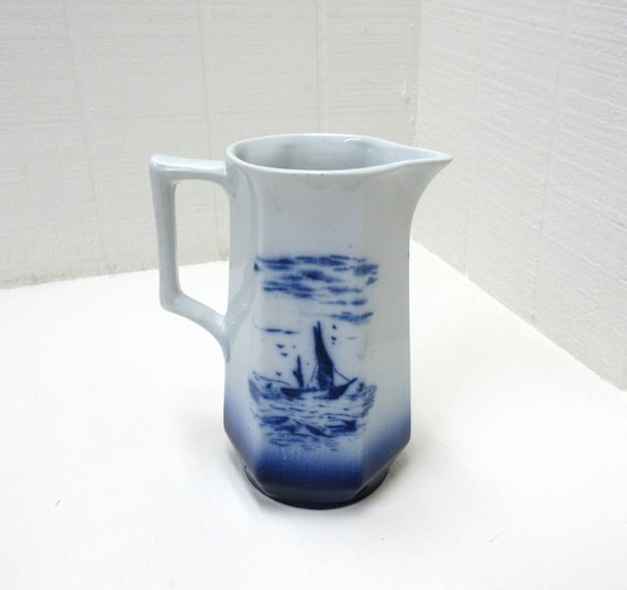 Vintage Flow Blue Pitcher Hand Painted Scenery With Sail Boats And Cottage