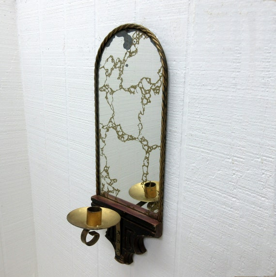 Vintage Wall Mount Candle Holder With Mirror