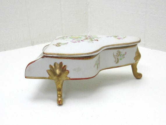 Vintage Jewelry Box Trinket Box Grand Piano Shape