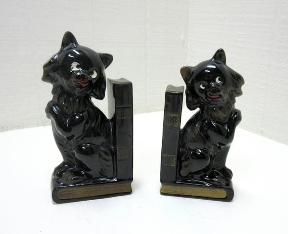 Vintage Ceramic Black Cat Bookends With Pen/Pencil Holder Made In Japan