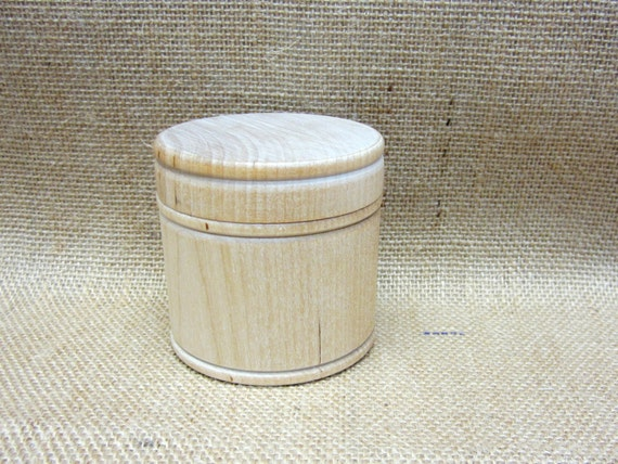 "Wooden Box Unfinished Large Size Trinket Box Jewelry Box Powder Box Gift Box 2-11/16"" In Diameter x 2-5/8"" Tall"