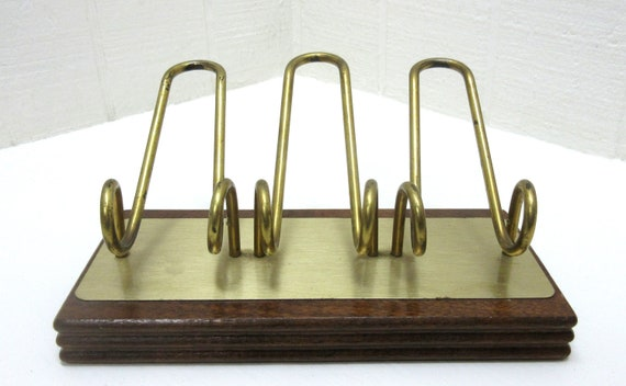 Vintage Brass And Wood Pipe Holder Rack Stand Made By Decatur Industries Inc. DECO