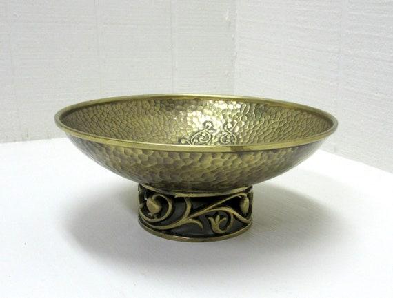 Vintage Brass Repoussé Compote Pedestal Footed Bowl