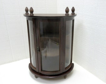 Vintage Curio Display Cabinet Curved Faux Glass Front And Door